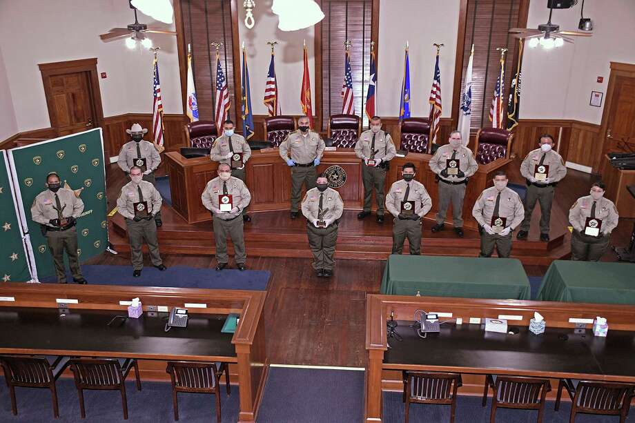 Twelve Webb County Jail Correctional Officers were recognized by Webb County Sheriff Martin Cuellar on Thursday, May 7 for their outstanding service to the department as part of the 2020 National Correctional Officers' and Employees Week. A ceremony was held at the Commissioners Courtroom. Photo: Cuate Santos /Laredo Morning Times / Laredo Morning Times