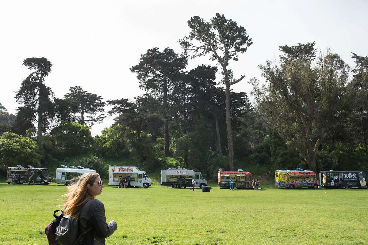 Food trucks are lined up for the annual 420 in the Park pot festival at Hippie Hill in Golden Gate Park. Saturday, April 20, 2019. San Francisco, Calif.