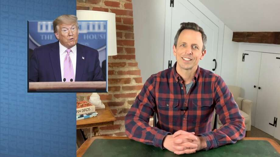"""LATE NIGHT WITH SETH MEYERS — Pictured in the screen grab: Host Seth Meyers during """"A Closer Look"""" at his Connecticut home on April 2, 2020. Photo: NBC/NBCU Photo Bank Via Getty Images / 2020 NBCUniversal Media, LLC"""
