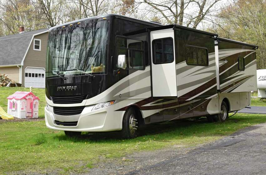 Roy Jacobsen's RV is seen parked in a relative's yard on Friday, May 8, 2020 in Valatie, N.Y. Roy and his wife Marrisa live in the RV full-time and drove it up from their winter spot in Naples, FL. They're waiting for the RV park in Rensselaer County to open up which is closed due to the Coronavirus pandemic. (Lori Van Buren/Times Union)