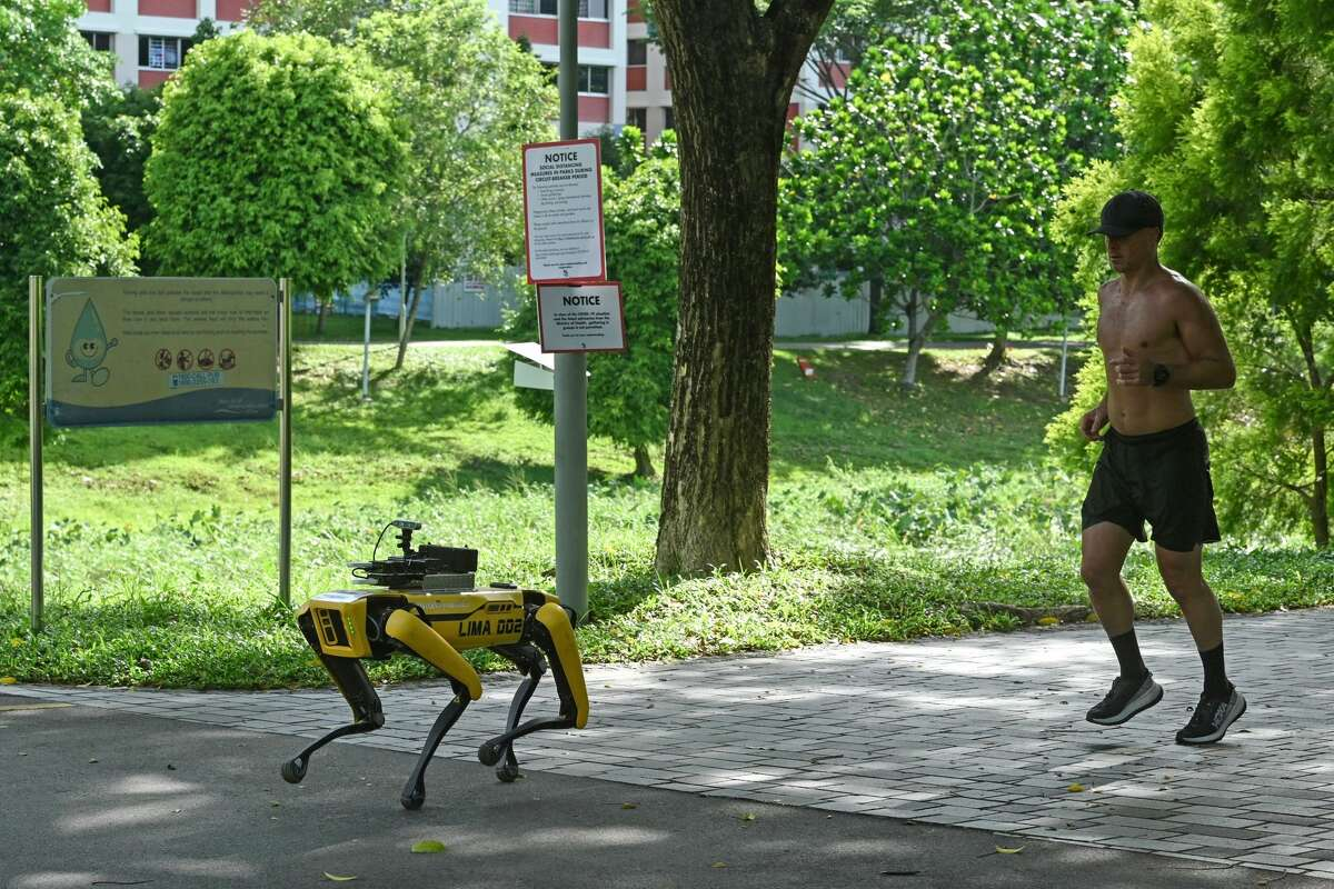 A man jogs behind a four-legged robot called Spot, which broadcasts a recorded message reminding people to observe safe distancing as a preventive measure against the spread of the COVID-19 novel coronavirus, during its two-week trial at the Bishan-Ang Moh Kio Park in Singapore on May 8, 2020.
