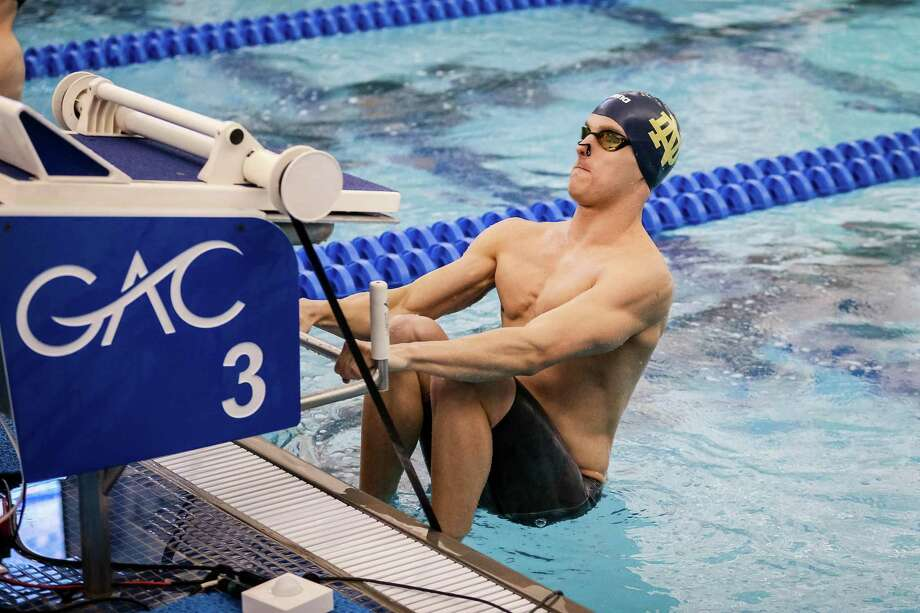 Jack Montesi, a 2016 Greenwich High School graduate, earned All-America honors by producing an impressive senior season as a member of Notre Dame's men's swimming team this past season. Photo: Photo Courtesy Of Notre Dame Athletics. / © Karl L. Moore
