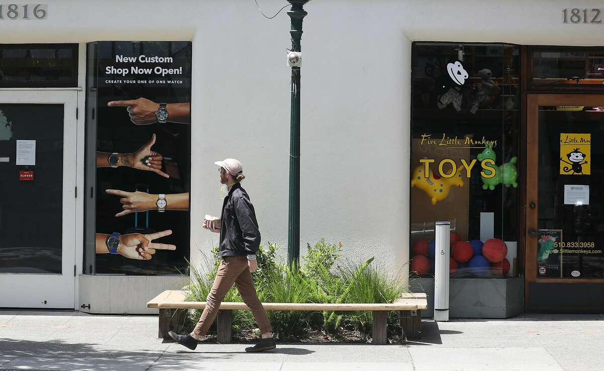 A near empty Fourth Street retail district which is usually bustling during this lunch hour is seen on Thursday, May 7, 2020, in Berkeley, Calif.