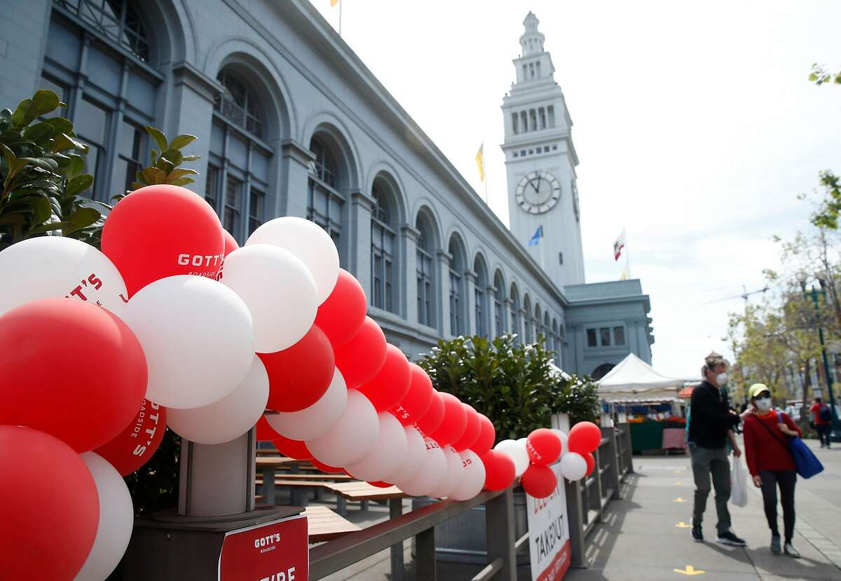 Gott's Roadside restaurant has reopened its Ferry Building location for takeout service using social distancing guidelines in San Francisco, Calif. on Saturday, May 2, 2020.