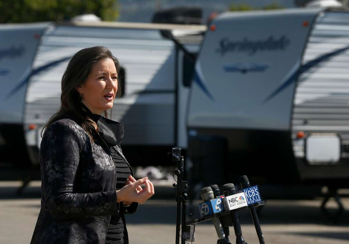 """Mayor Libby Schaaf announces the opening of a community of trailer homes on Hegenberger Road near the Coliseum in Oakland, Calif. on Tuesday, May 5, 2020. Dubbed """"Operation HomeBase"""", 67 trailers will shelter 134 homeless people who are at a significant risk if they contract the COVID-19 coronavirus."""