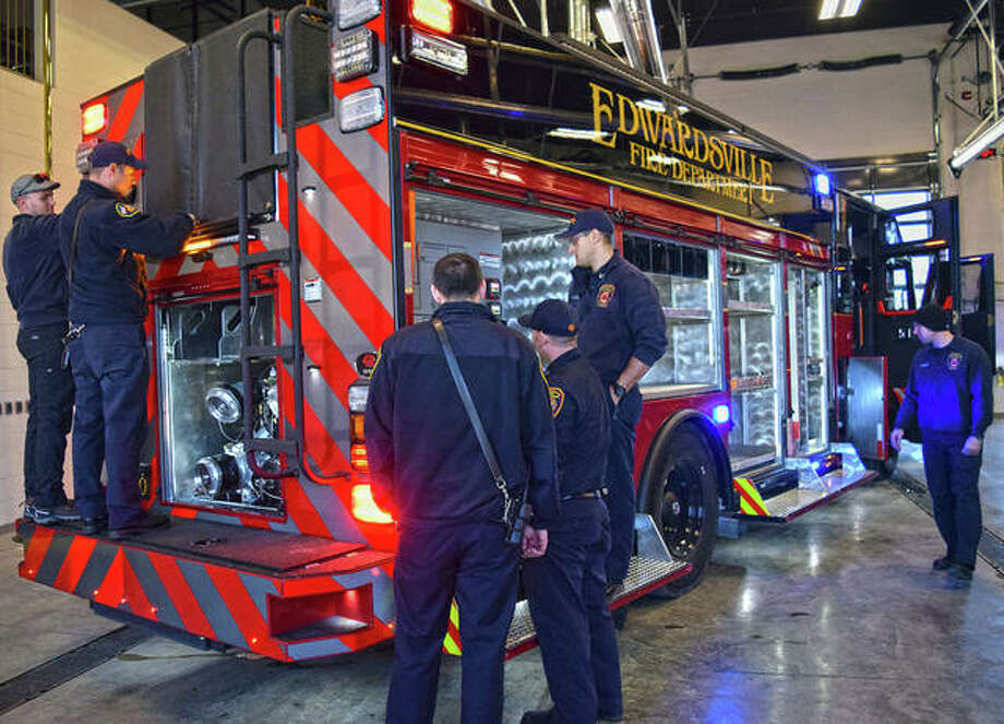 Firefighters flocked to check out the new arrival in February when the city took delivery of its first new fire truck in almost 20 years. Photo: Tyler Pletsch | Intelligencer File Photo
