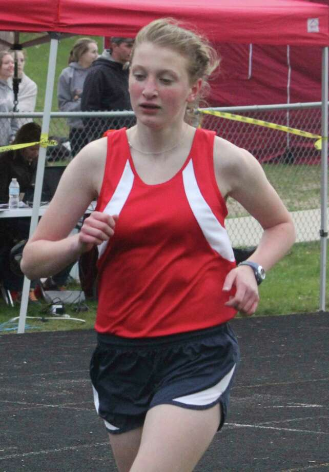 Crossroads senior Jaylen Schroeder works on her pace during a 2019 race. (Pioneer file photo)