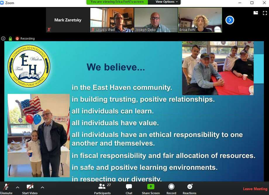 East Haven Superintendent of Schools Erica Forti, upper right, presents her budget to the Town Council in an online Zoom meeting Thursday, May 7, 2020. Photo: Screenshot