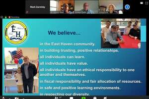 East Haven Superintendent of Schools Erica Forti, upper right, presents her budget to the Town Council in an online Zoom meeting Thursday, May 7, 2020.