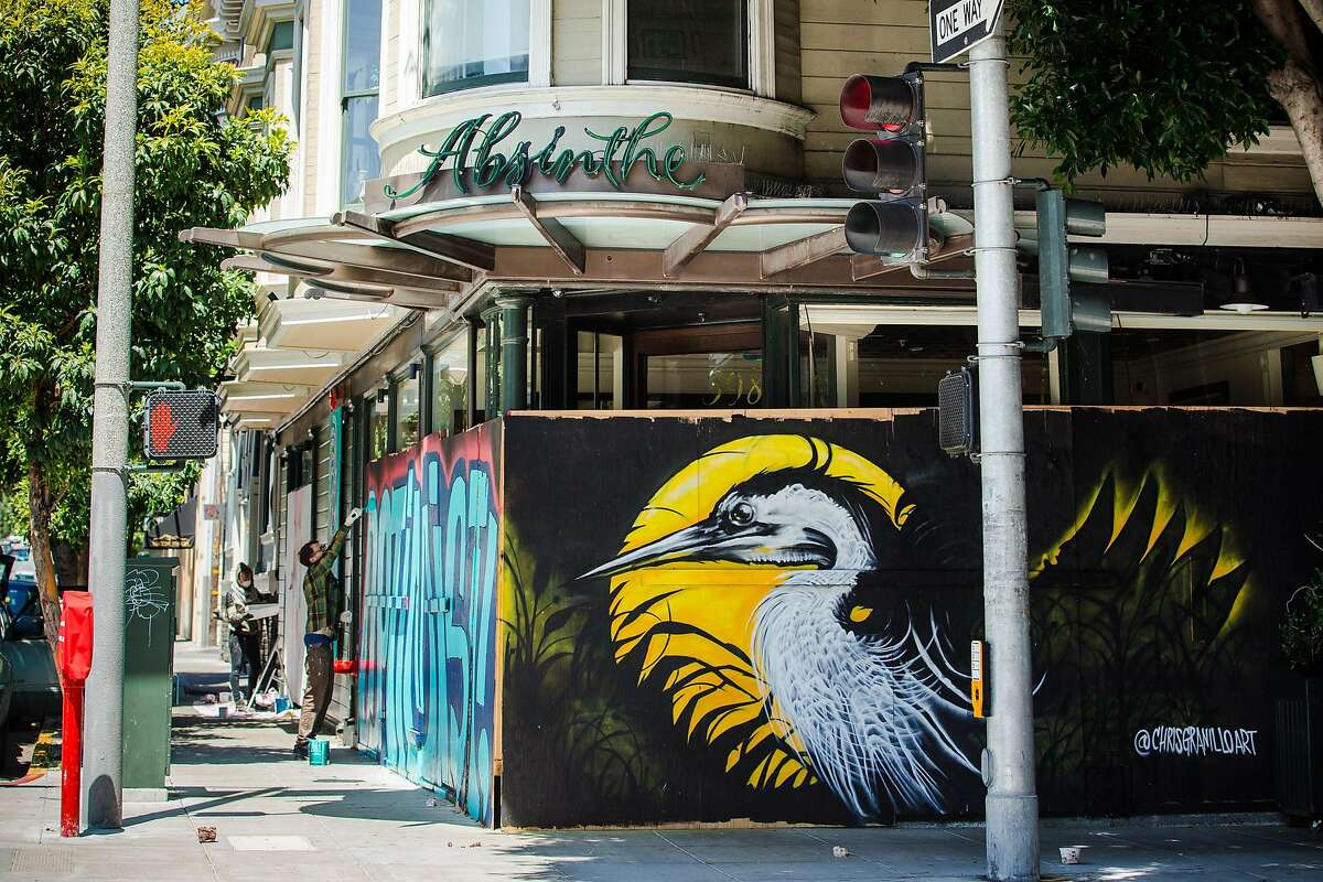 A mural by Chris Granillo on plywood covering the windows at Absinthe in San Francisco, CA during shelter-in-place.