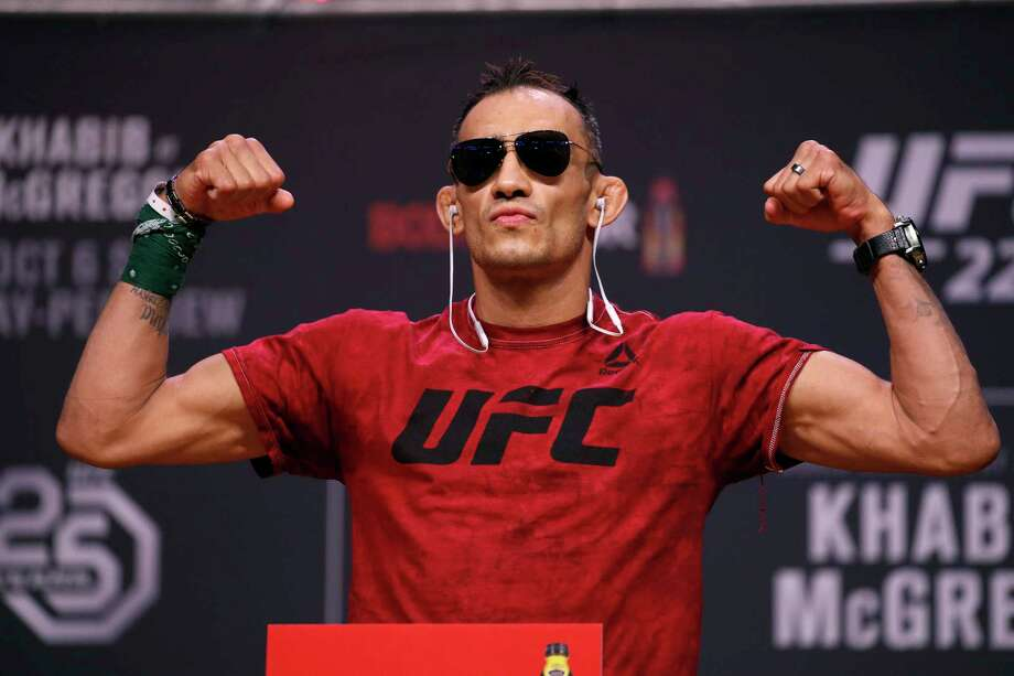 FILE - In this Oct. 5, 2018, file photo, Tony Ferguson poses during a ceremonial weigh-in for a UFC 229 mixed martial arts fight in Las Vegas. UFC 249 scheduled for May 9, 2020, at Jacksonville Arena will be headlined by lightweight title contenders Tony Ferguson and Justin Gaethje. (AP Photo/John Locher, File) / Copyright 2018 The Associated Press. All rights reserved.