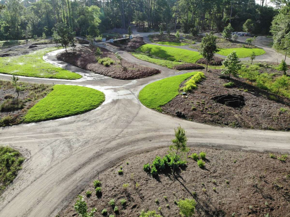 An aerial shot of Creekside Ramble at Mercer Botanic Gardens.