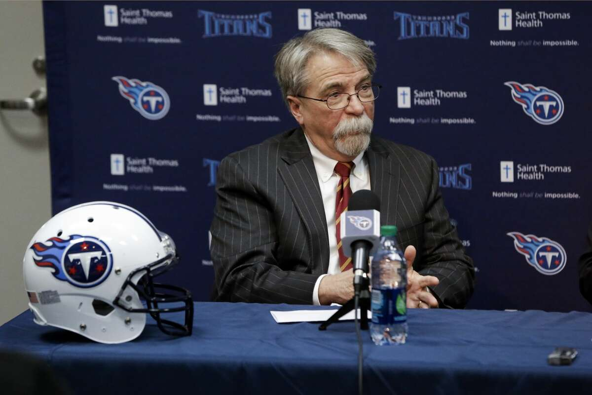 Tennessee Titans president and CEO Steve Underwood answers questions at a news conference Monday, Jan. 18, 2016, in Nashville, Tenn. (AP Photo/Mark Humphrey)