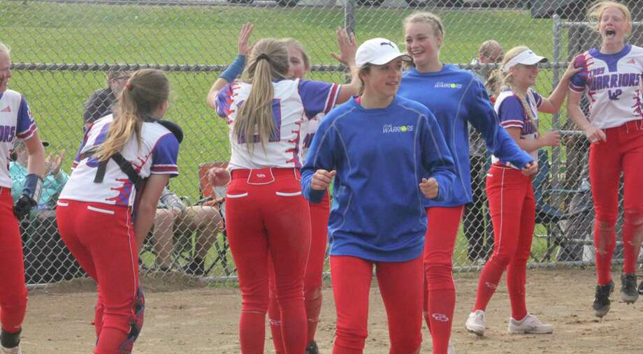 Chippewa Hills girls celebrate the 2019 district title. (Pioneer file photo)