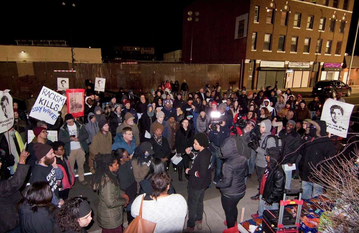 File photo of the roughly 350 family, friends and activists who gathered at a memorial for Jayson Negron on Fairfield Avenue in Bridgeport, Conn., on Friday, Jan. 26, 2018, the day Waterbury State's Attorney Maureen Platt released her report into the fatal police-involved shooting, clearing the officer of any criminal wrongdoing.