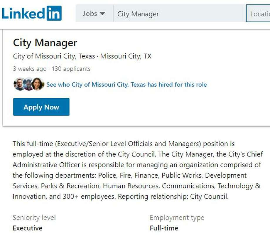 In May, Missouri City officials posted the city manager position on the city website as well as other employment sites including LinkedIn and the Texas Municipal League job board, drawing more than 50 applications according to Mayor Yolanda Ford Photo: File Image