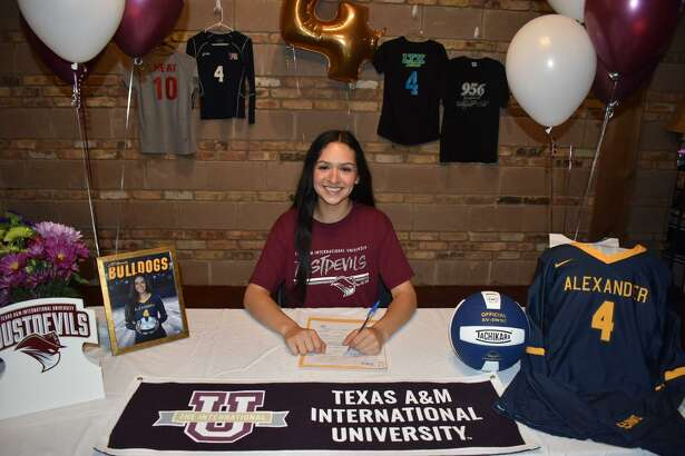 Alexander's Daniela Sandoval signed with Texas A&M International to continue her volleyball career on Friday.