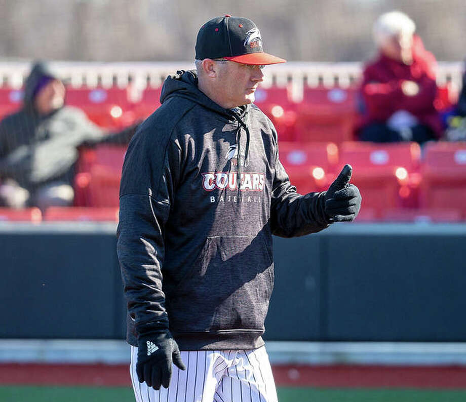 SIUE coach Sean Lyons, shown before his teams OVC opener March 6 against Tennessee Tech at SIUE's Simmons Baseball Complex in Edwardsville, had the Cougars at 8-7 and 3-0 in the conference before the rest of the 2020 season was canceled. Photo: Scott Kane / SIUE Athletics