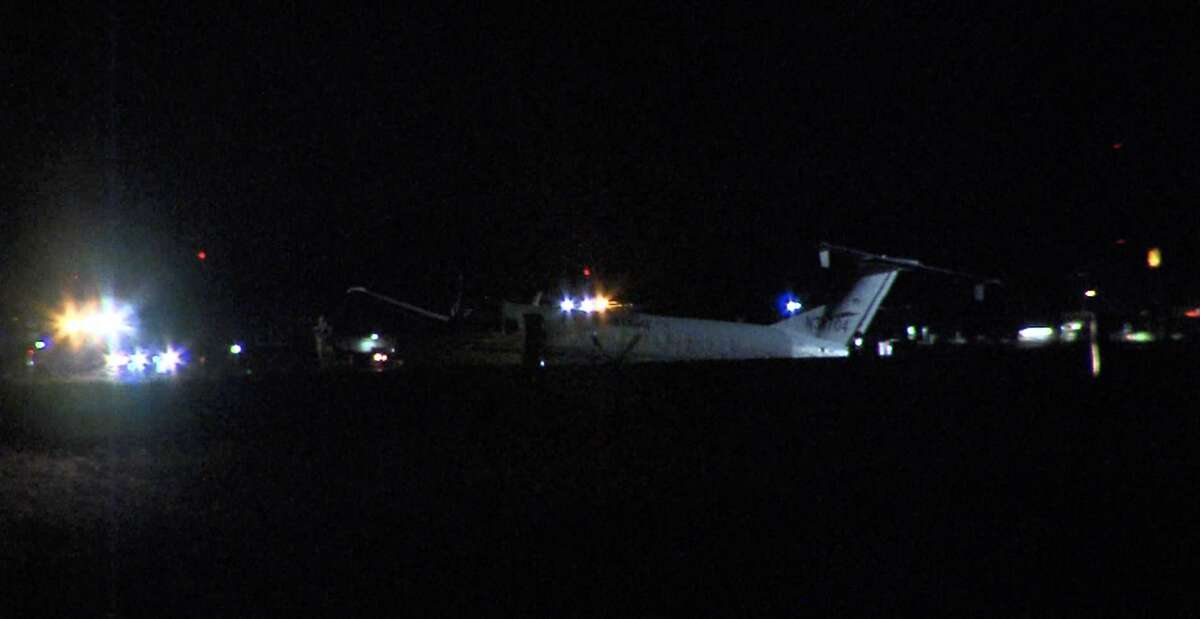 A small plane slid off the S.A. International Airport runway, while landing Friday night, airport police said.