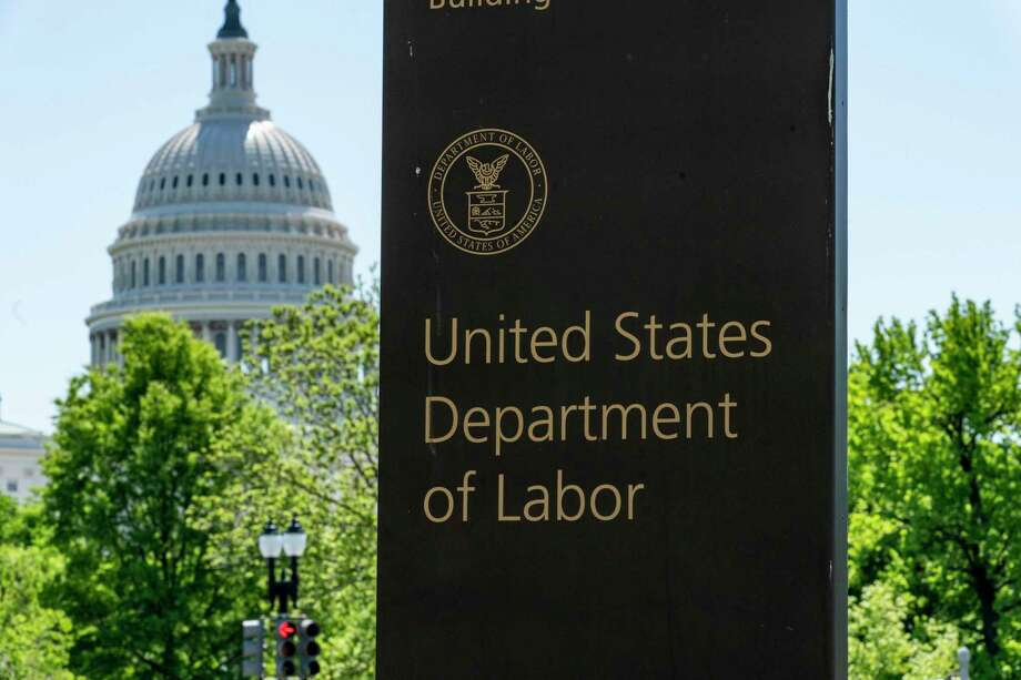 In this May 7, 2020, photo, the entrance to the Labor Department is seen near the Capitol in Washington. Photo: J. Scott Applewhite / Associated Press / Copyright 2020 The Associated Press. All rights reserved