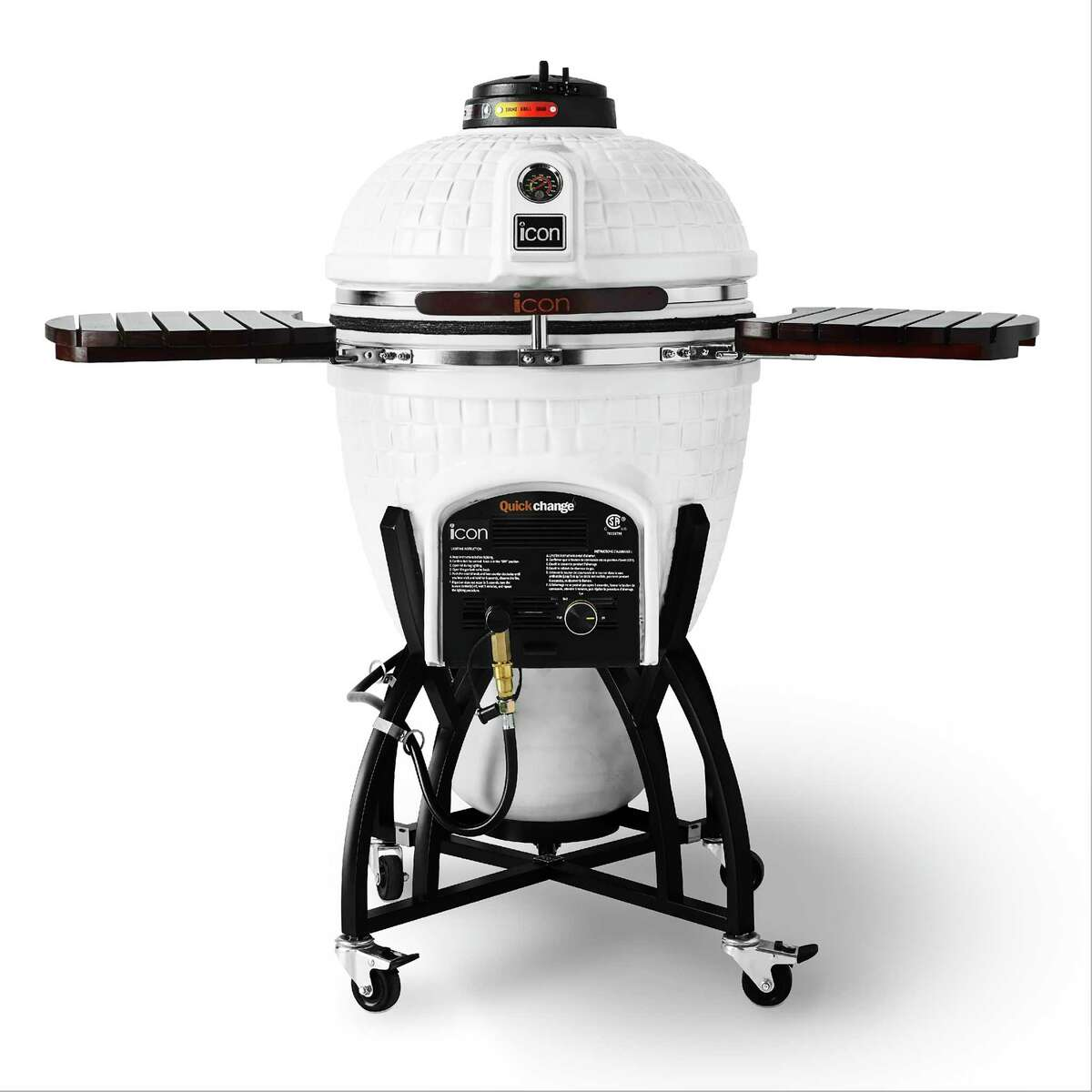"""This photo provided by Williams Sonoma shows the Icon Hybrid Kamado Grill. Many serious grill enthusiasts opt for the kamado style grill a€?"""" the word means 'stove' in Japanese a€?"""" that has a distinctive oval shape. With top and bottom vents, these grills have thick ceramic heat-trapping walls that make them heat up quickly, and work much like convection ovens. This hybrid kamado grill, available only at Williams Sonoma, takes either charcoal or gas. Its white exterior makes it look a little like R2D2. (Williams Sonoma via AP)"""