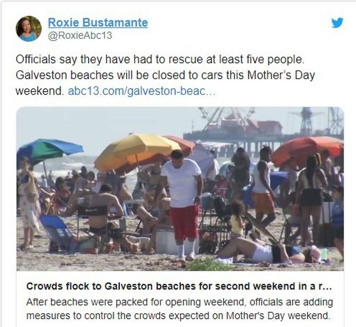 Crowds have flocked to Galveston beaches for a second weekend in a row, according to ABC-13's Roxie Bustamante.
