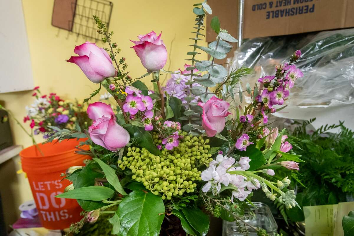 A finished Mothers Day arrangement at Petals Florist ready to be delivered. Since people are dealing with the separation from their mothers because of the pandemic, they have sold out of most of what they had and will be open on Sunday with more. Photo made on May 9, 2020. Fran Ruchalski/The Enterprise