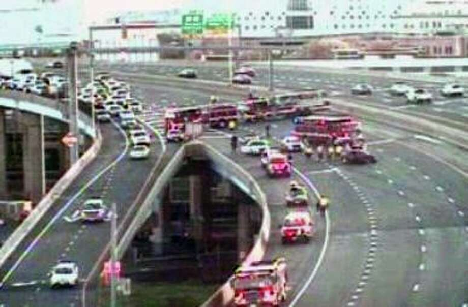 A screenshot of a CTDOT camera showing the crash site on I-95 north in Bridgeport, Conn., on Saturday, May 9, 2020. Photo: Contributed Photo