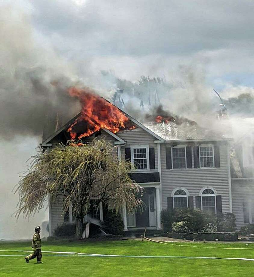 A fire on Walnut Hill Road in Bethel, Conn., on Saturday, May 9, 2020. Photo: Contributed Photo / Stony Hill Volunteer Fire Company
