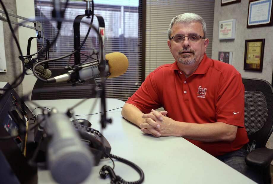 Harold Mann at the KlVI studio on Wednesday. Long time radio correspondent for Southeast Texas, Mann provides live coverage of Lamar's football games.