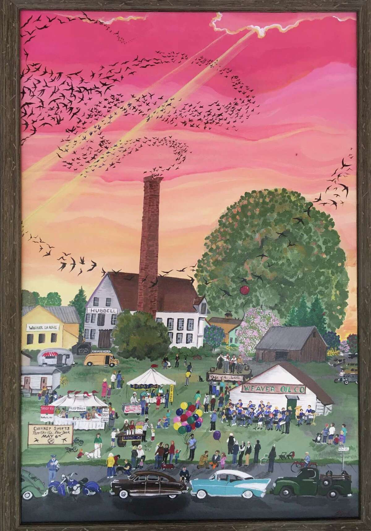 Linda Fitch, a Northville artist who recently received a New York State Council on the Arts grant through the Saratoga Arts Center, is completing a series of local folk art work. Depicted here is how swifts from Peru made their 6,000-mile journey to the village's Hubbell Chimney, arriving every May 6. The chimney is no longer there, but many people remember the festivities that signaled the beginning of summer.