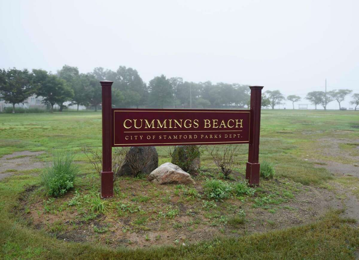 Cummings Beach in Stamford, Conn., photographed on Thursday, June 20, 2019. Beach-goers have repeatedly complained about noise and fumes from school buses training new drivers in the parking lot along the marina at Cummings Beach. First Student was earlier kicked out of the Cove Island parking lot for safety concerns and operating without a permit.