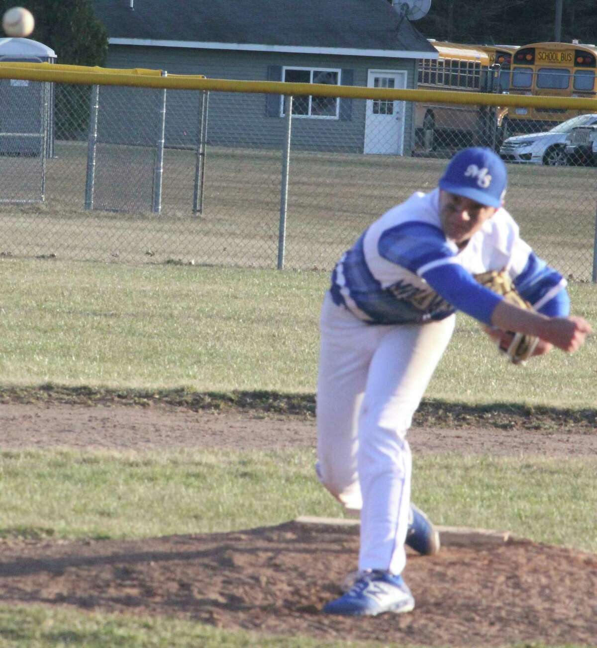 Morley Stanwood's Aaron Moore delivers a pitch to the plate last season. (Pioneer photo)