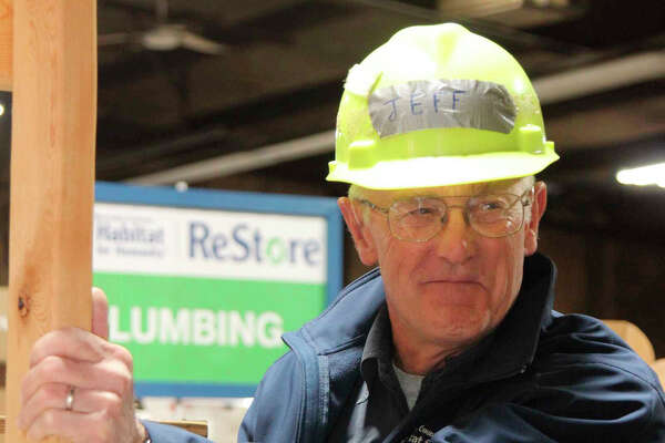 Jeff Greene volunteers for Habitat for Humanity in Big Rapids. He began volunteering in 2008 and has helped build 10 homes, as well as doing repairs on other homes.