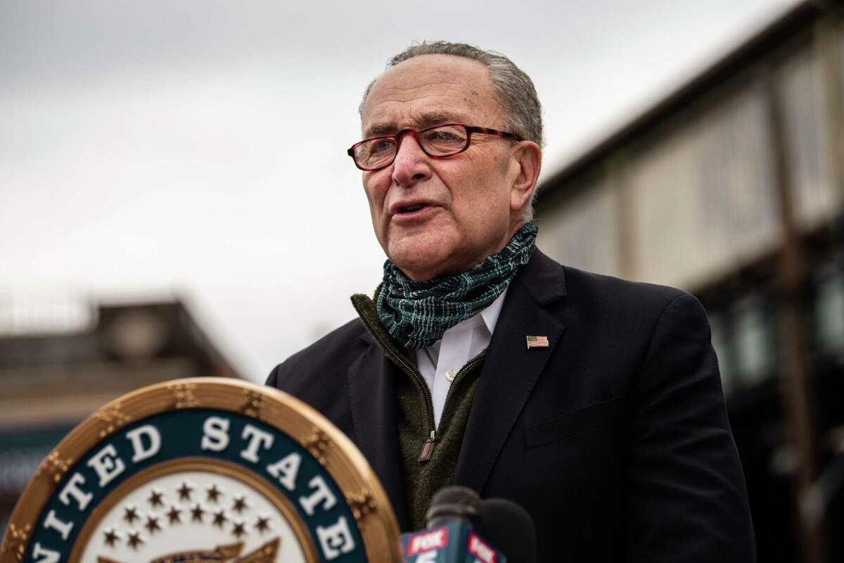NEW YORK, NY - APRIL 14: Senate Minority Leader Chuck Schumer (D-NY) speaks at a press conference at Corona Plaza in Queens on April 14, 2020 in New York City. (Photo by Scott Heins/Getty Images)