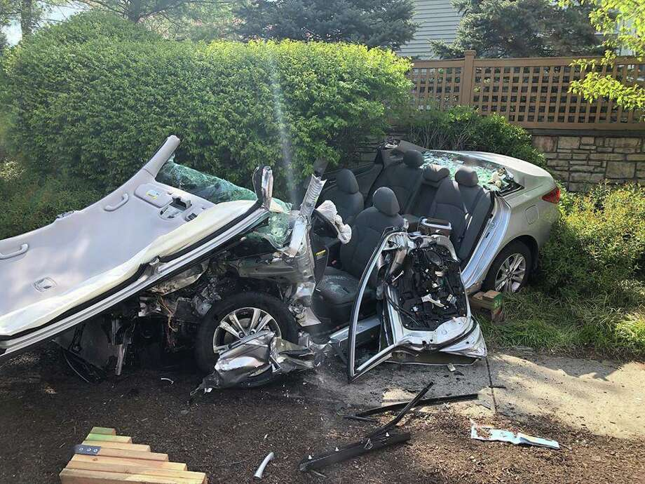 A car accident on Sunday afternoon resulted in two drivers being injured, according to the Bethel Police Department. Police said emergency dispatch received multiple 911 calls at approximately 2:45 p.m. on Sunday, May 10, 2020 for a crash on Route 53 near the Danbury town line. Photo: Bethel Fire & EMS Photo
