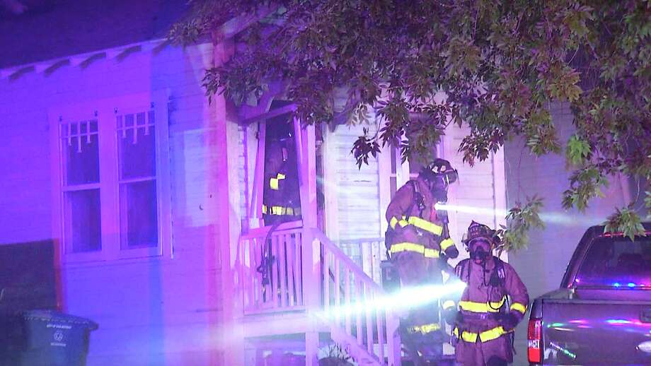 San Antonio Fire Department is looking into arson as the cause of a fire at an East Side duplex Sunday night. Photo: Ken Branca