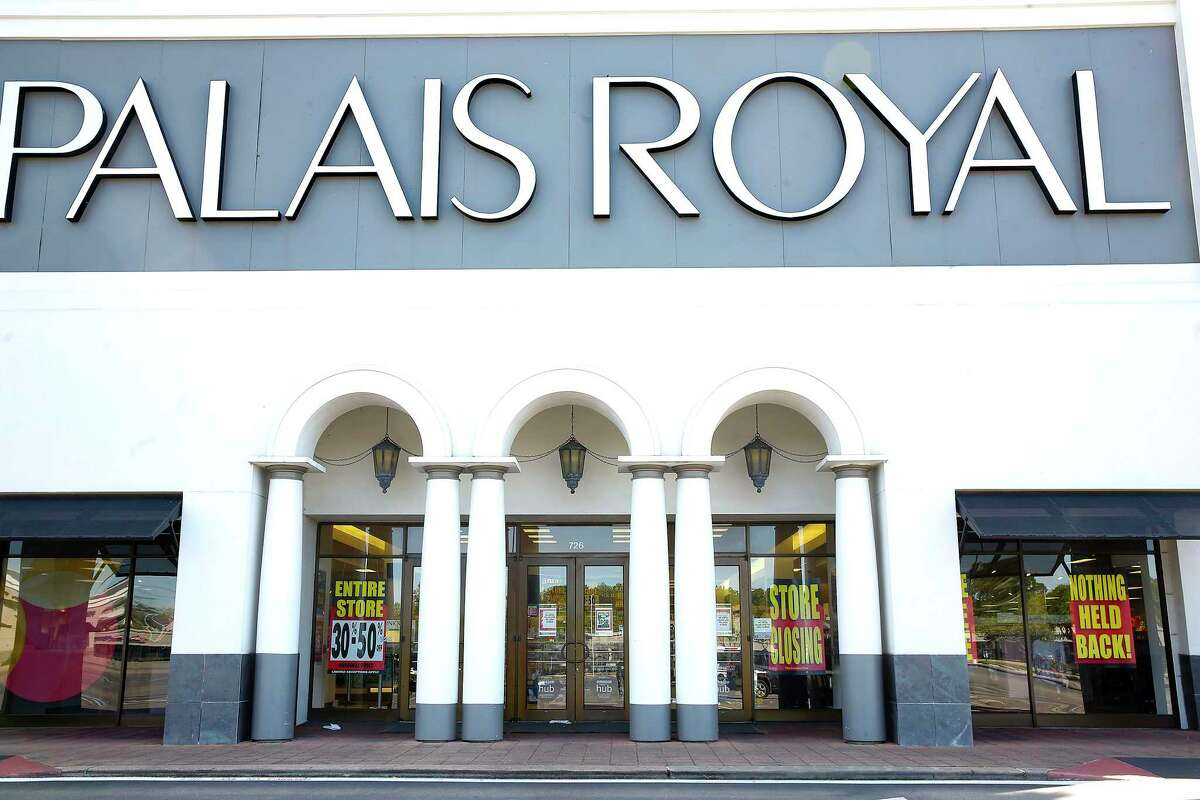 Palais Royal, a Stage Stores property, in Houston has clearance signage in its windows on Tuesday, March 31, 2020.