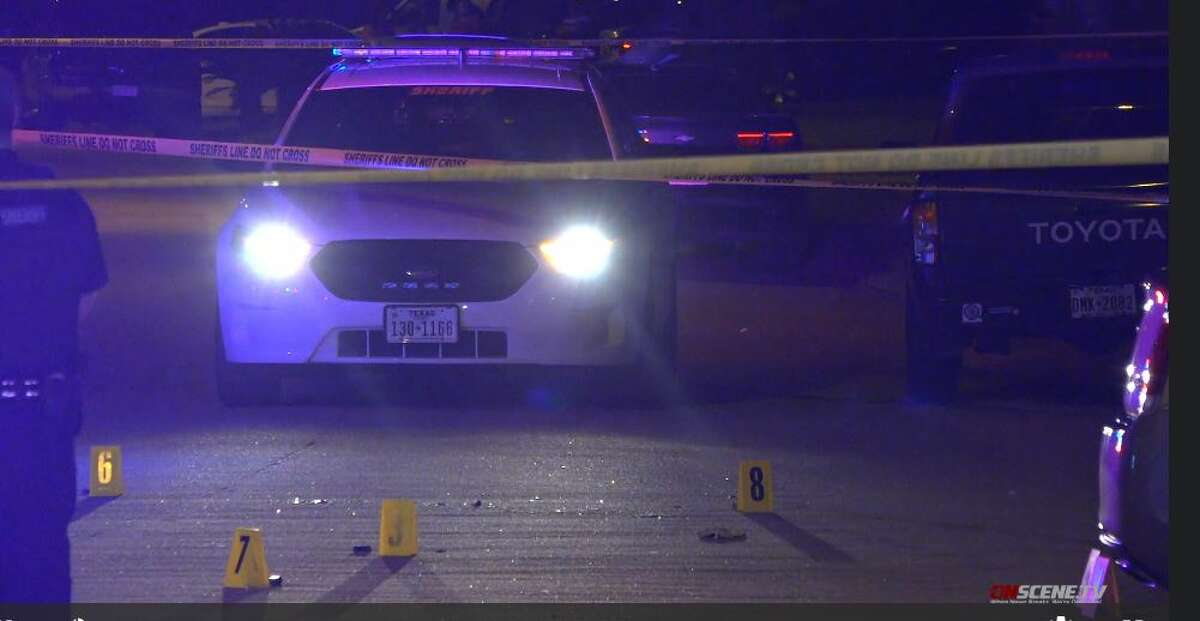 Harris County Sheriff's Office authorities investigate a shooting that injured six people, including a 5- year-old girl, on Sunday, May 10, 2020.