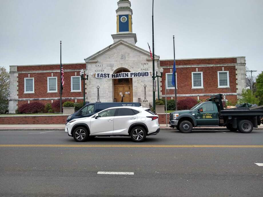 An East Haven Department of Public Services truck parked in front of East Haven Town Hall. Photo: Contributed Photo