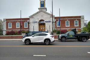 An East Haven Department of Public Services truck parked in front of East Haven Town Hall.