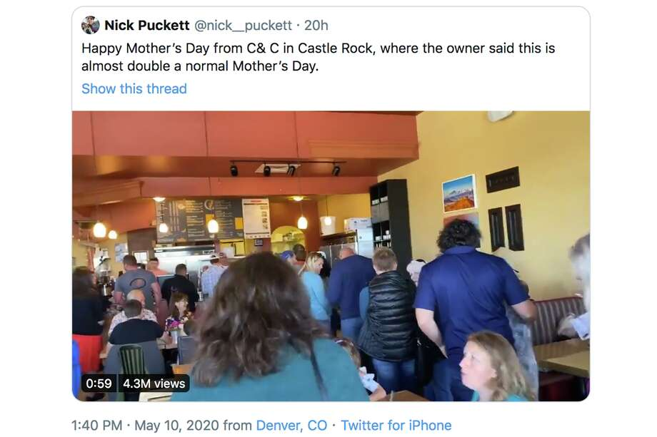 Customers formed long lines and packed tables on May 10 inside a Colorado restaurant that defied statewide orders aimed at stemming the spread of covid-19. Photo: Twitter / Nick__puckett