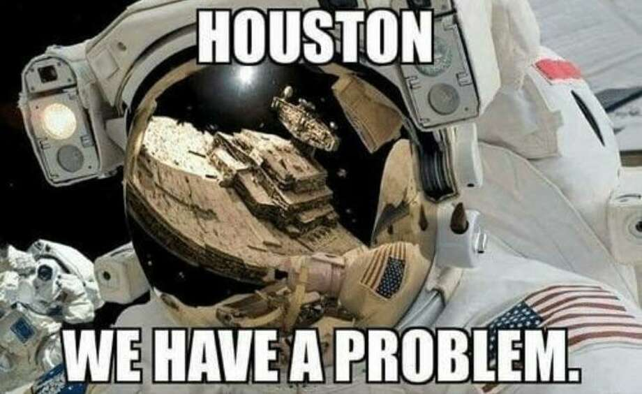 Houston, we have a problem. Though the phrase is widely known, you can expect eye rolls if you use it with a Houstonian. So, if you're planning to move to Houston soon... lay off the joke. And the shirts. Photo: Reddit