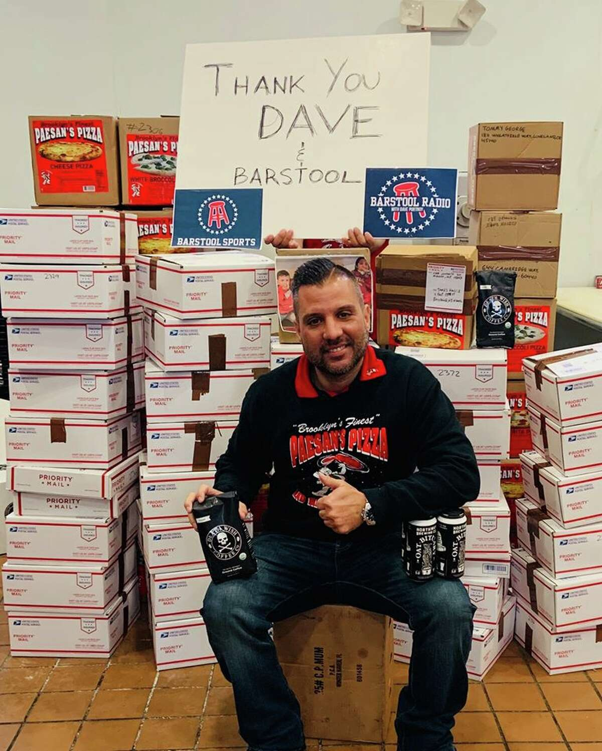 Frank Scavio, Paesana€™s Paesan's Pizza, is ready to pack and ship pizza and care packages to Army National Guard soldiers in Afghanistan. (Paesan's Pizza)