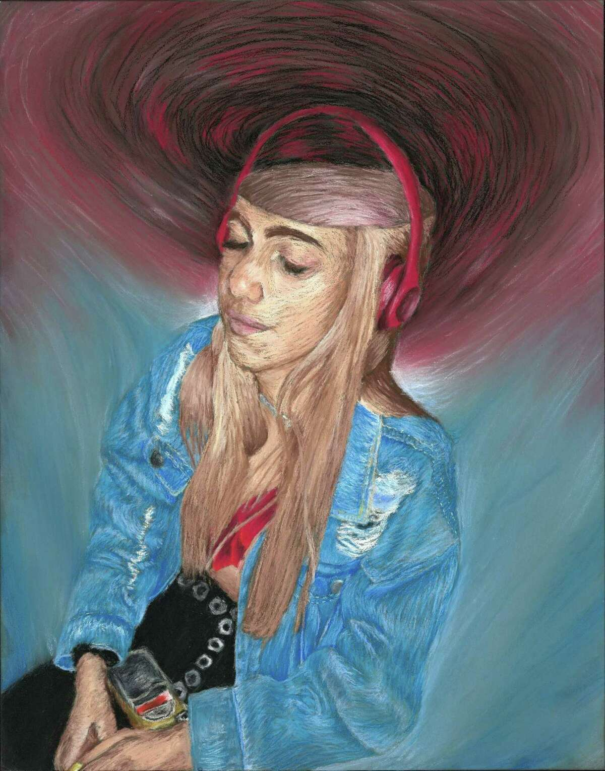 """New Canaan High School senior, Devin Findlay, has a piece of art in the school's, """"first virtual senior art show,"""" """"NCHS 2020 Vision,"""" titled: """"Surround Sound."""" The show can be seen online until June 30."""