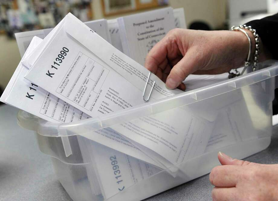 Unmarked absentee ballots available at Town Hall in Bethel Friday, Nov. 2, 2018. Photo: Carol Kaliff / Hearst Connecticut Media / The News-Times