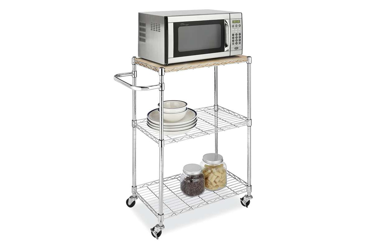 Whitmor Supreme Kitchen & Microwave Cart, $63.61For people who don't have a lot of storage space in their kitchen, movable carts often come in very handy. If you need extra area to use as alternative kitchen space, this Whitmor Supreme Kitchen & Microwave Cart will do the trick. You can use it to prep food, or even support an appliance as large as a microwave or toaster.