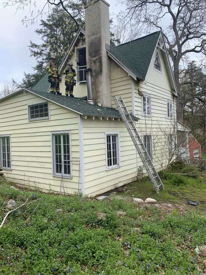 Southbury firefighters respond to a Roxbury Road chimney fire Saturday, May 9, 2020. Photo: Southbury Fire Department