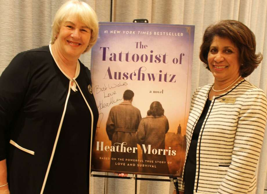 Author Heather Morris, left, and Wilton Library Executive Director Elaine Tai-Lauria celebrate the successful conclusion of last year's Wilton Reads 2019 program. The library received a Connecticut Library Association Excellence in Public Library Service Award for its robust town-wide reading program on the Holocaust, as conveyed in Morris's historical fiction, The Tattooist of Auschwitz. Photo: Contributed Photo / Wilton Library / Wilton Bulletin Contributed