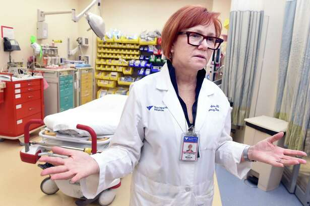 Dr. Gail D'Onofrio , physician in chief of emergency services at Yale New Haven Hospital, co-leads Project ED Health, which is examining barriers to clinical implementation of research studies. She is photographed in the resuscitation room of the hospital's Emergency Department in 2016.